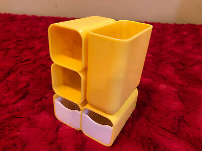 Vintage 1970s Hof Yellow Plastic Office Desk Organizer Caddy 7412 W 2 Drawers