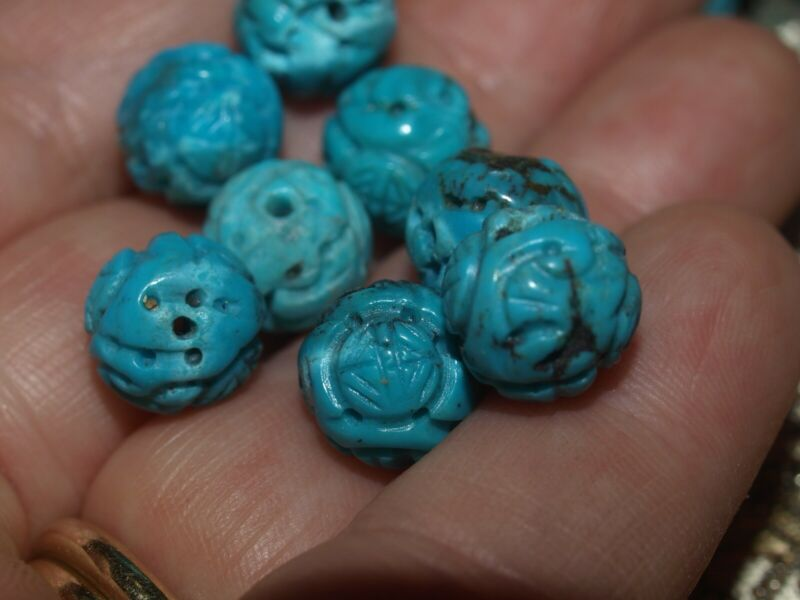 ONE Vintage Carved Chinese Natural Old Turquoise Bead 10mm Round, Shou Rare!