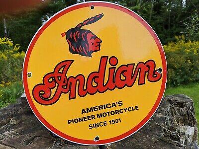 OLD VINTAGE 1950'S CHIEF INDIAN MOTORCYCLE DEALER PORCELAIN GAS STATION SIGN