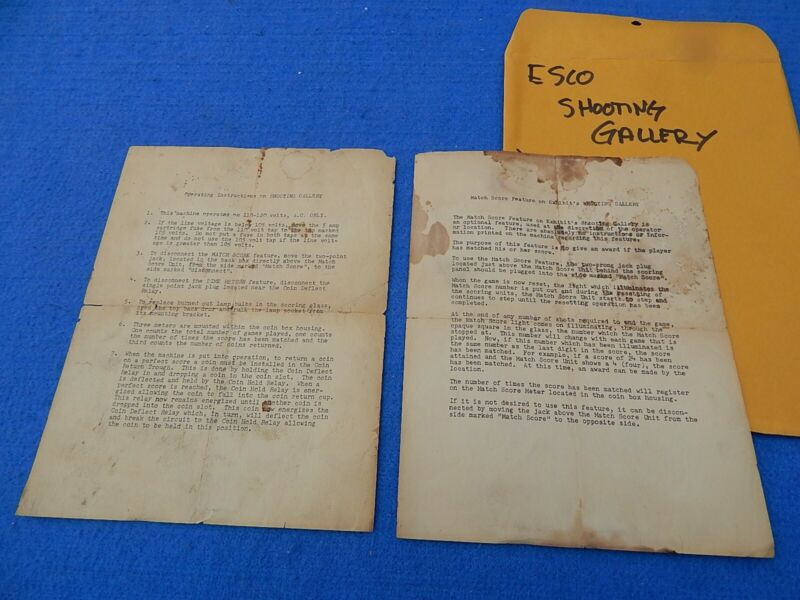 1949 Exhibit Supply Company SHOOTING GALLERY Instruction Sheets