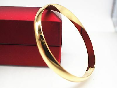 Ladies Child 18k 18ct Yellow Gold Solid Round Light Bangle Bracelet 60mm - Gold Bangle