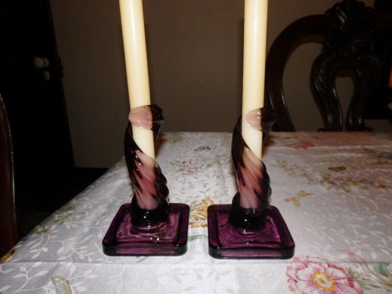 Westmoreland Lotus Twisted Candleholders Rare Amethyst!!