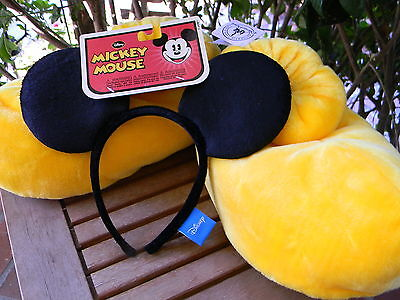 Disney Parks Mickey Mouse Ear Headband & Slipper Shoes Plush Costume NEW