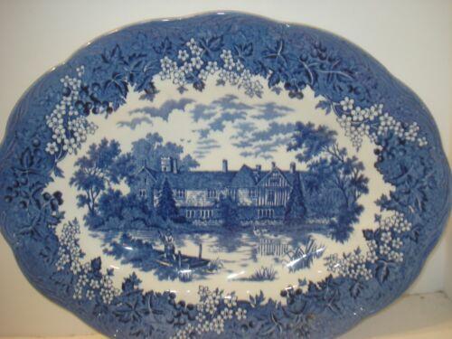 ROMANTIC ENGLAND Vintage J & G Meakin OVAL SERVING PLATTER Blue Stoneware 12x9.5