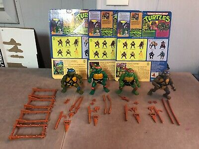 TMNT Vintage 1988 99% Complete Set of 4 Turtles - Leo, Mikey, Don, Raph w/ Cards