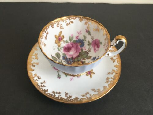 Vtg AYNSLEY BONE CHINA PINK ROSES AND FLOWERS FOOTED TEACUP & SAUCER SET