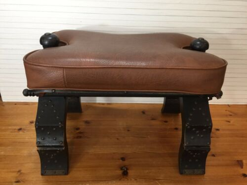 Vintage Wood Ottoman CAMEL SADDLE Bench Stool w/Holding Legs
