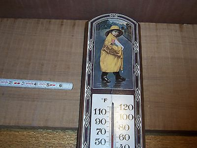 NATIONAL BISCUIT COMPANY WOOD THERMOMETER INTER SEAL TRADE MARK HOME DECOR