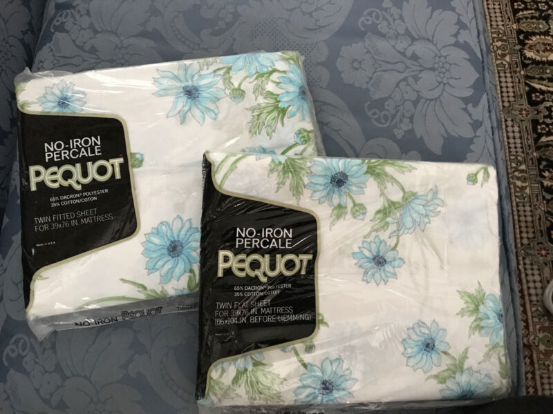 Vintage Blue Flowers Pequot Twin Fitted And Flat Sheet New Sealed (70's)