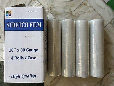 4 Rolls 18x1500 80 Gauge Pallet Wrap Stretch Film Free Shipping