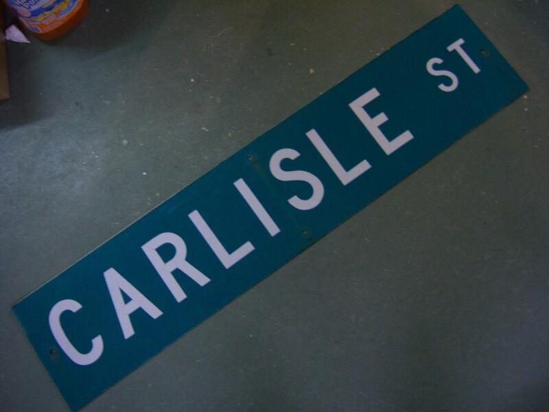 "Vintage ORIGINAL CARLISLE ST STREET SIGN 42"" X 9"" WHITE LETTERING ON GREEN"