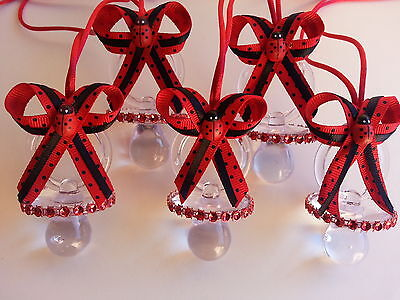 12 Ladybug Pacifier Necklaces for Games Prizes Favors Baby Shower Decorations