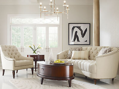 ELEGANCE Traditional Living Room Couch Set Furniture - Ivory Chenille Sofa Chair