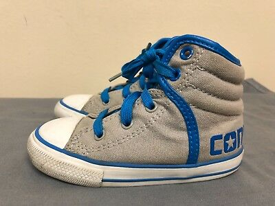 Converse All Star hi top Kids sneakers lace up shoes -gray/royal blue Size US 8 - Royal Hi Canvas-sneaker