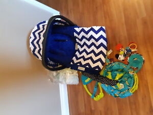 Carseat, canopy set,jumper and diapers