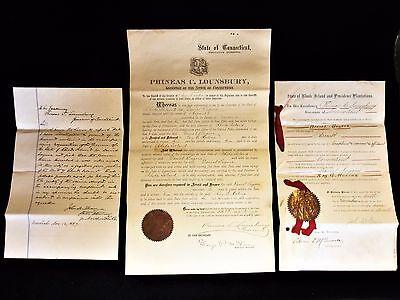 1887 Extradition Warrants signed Gov's John Davis, R.I and Phineas Lounsbury, Ct