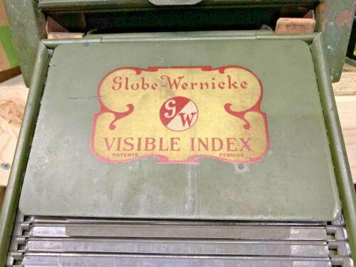 Vintage Globe Wernicke Visible Index Card File Catalog Cabinet Parts REPURPOSE!