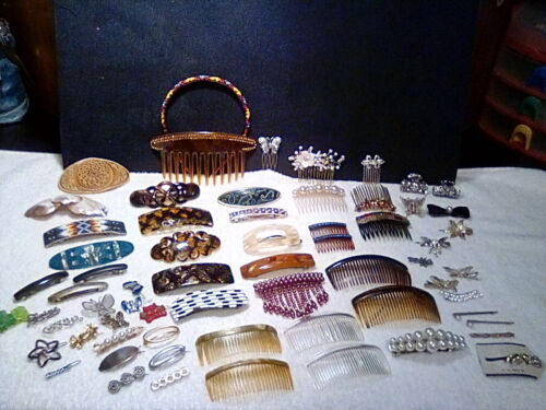 60 plus pc. Vintage hair Accessory lot! Combs, Barrettes, Clips, pins etc...VGC!