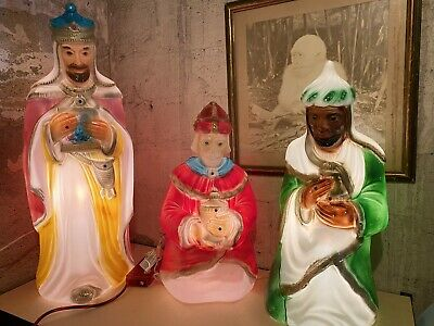 "General Foam Plastics Nativity Blow Mold Wise Man Christmas SET 35"" LOT OF 3"