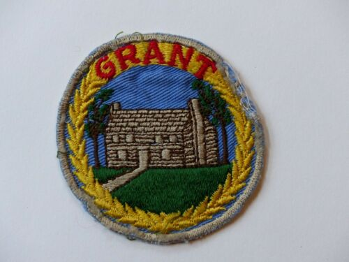 """Used Vintage """"GRANT"""" U.S. Grant Log Home Galena Illinois? Embroidered Patch"""