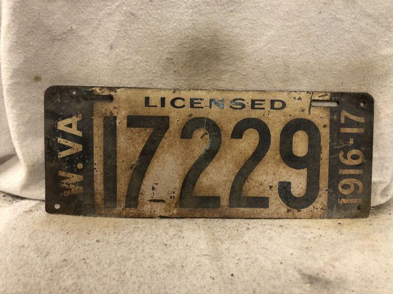 Vintage 1916 West Virginia License Plate