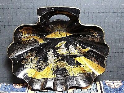 Antique 19th Century Chinese Black Lacquer Hand Painted Paper Mache Tray