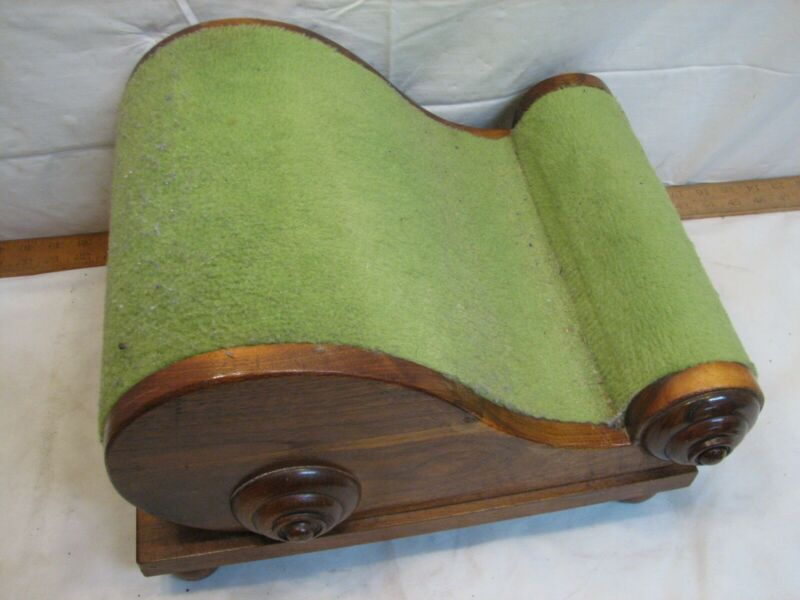 Antique Victorian Gout Stool Fainting Couch Style Wood Ottoman Foot Rest Scroll