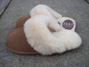 a307c7592aa9b JUST ladies Duchess brown sheepskin mule slippers to fit UK 7-8 BNWT RRP £