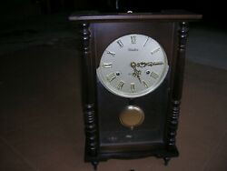 LINDEN 31 DAYS CHIME WALL CLOCK WITH KEY NO 8052 MADE JAPAN /LINDEN MANTEL CLOCK