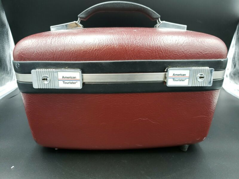 VTG American Tourister Maroon Red Train Case WITH KEY, Vtg Luggage Great Cond.