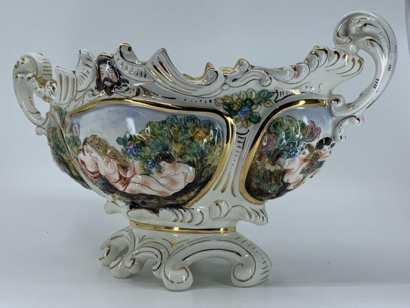"Vintage Capodimonte ""Bernini"" Centerpiece Soup Tureen Italian Porcelain Cherubs"