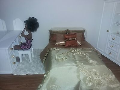 Custom Made 1:6 Scale Doll Bed with Mattress for Barbie, Fashion Royalty Dolls