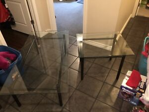 Glass coffee table + matching end table