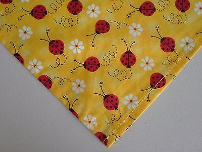 Dog Bandana/Scarf Tie On Lady Bugs Daisies Custom Made by Linda xS, S, L (Custom Dog Bandana)