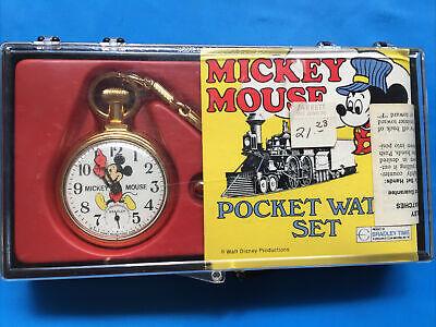 Running Vintage Bradley Mickey Mouse Pocket Watch Train Made In USA Original Set