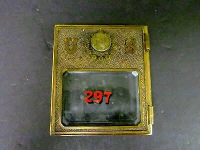 Antique Yale Push Button  2 Post Office Postal Box Door Front W  Beveled Glass