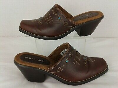 Autumn Run Brown Leather Western Cowgirl Beaded Slip On Mules Heels Sz 7.5