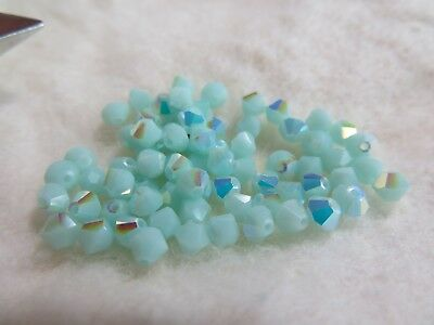 Ab 5301 Bicone Beads - 58 Style 5301 Bicone Swarovski Crystal 4mm Beads Mint Alabaster AB #182a