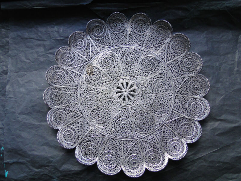 MIDDLE EAST FILIGREE STERLING SILVER DISH-VERY HEAVY BEAUTIFUL DESIGN CIRCA 1890