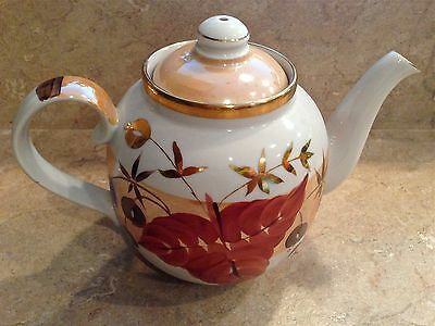 Russian Teapot DULEVO Porcelain 22K Gold Hand Painted USSR Stamped RARE Pattern