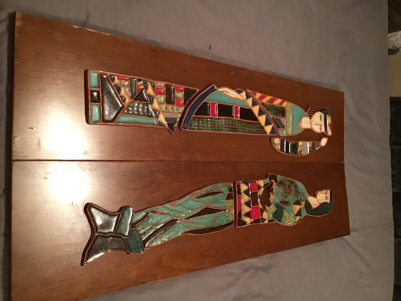 Harris G Strong Queen & Jester Title Panels Mid Century Wooden Ceramic