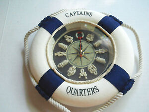 Nautical Maritime Decorative Captains Quarters Life Ring With Rope Clock New 8