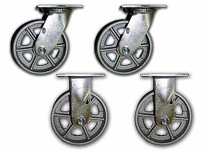 6 X 2 Steel Casters 1250 Cap. W Semi Steel Albion Wheel 2 Rigid 2 Swivel