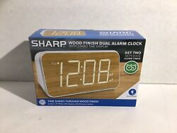 SHARP Wood Finish Dual Alarm Clock With Jumbo Time Display Electric New In Box