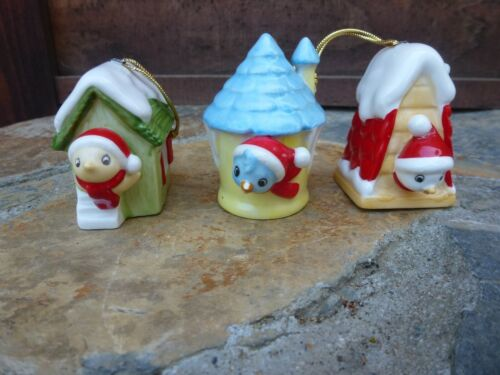 3 Miniature Birdhouse Pottery Ornaments