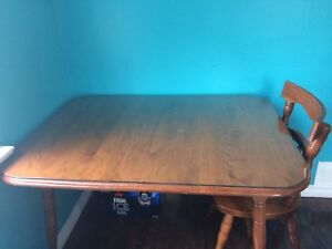 Solid wood Dining table, hutch, corner unit, chairs