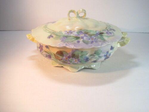 Haviland France K. Muller Ceramic Floral Vegetable Bowl Tureen