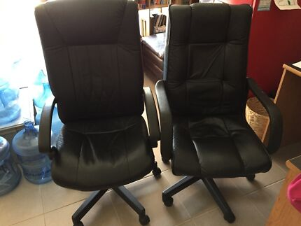 Leather Officeworks good condition office chairs Meadow Springs Mandurah Area Preview