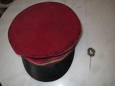 Rote Mütze Studentenmütze - gold-weiß-rot & Adler-Nadel mit Zirkel / Studentika