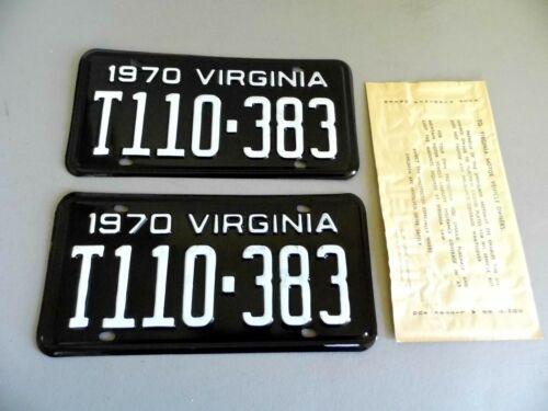 Vintage 1970 Virginia Truck License Plate Set - Unissued